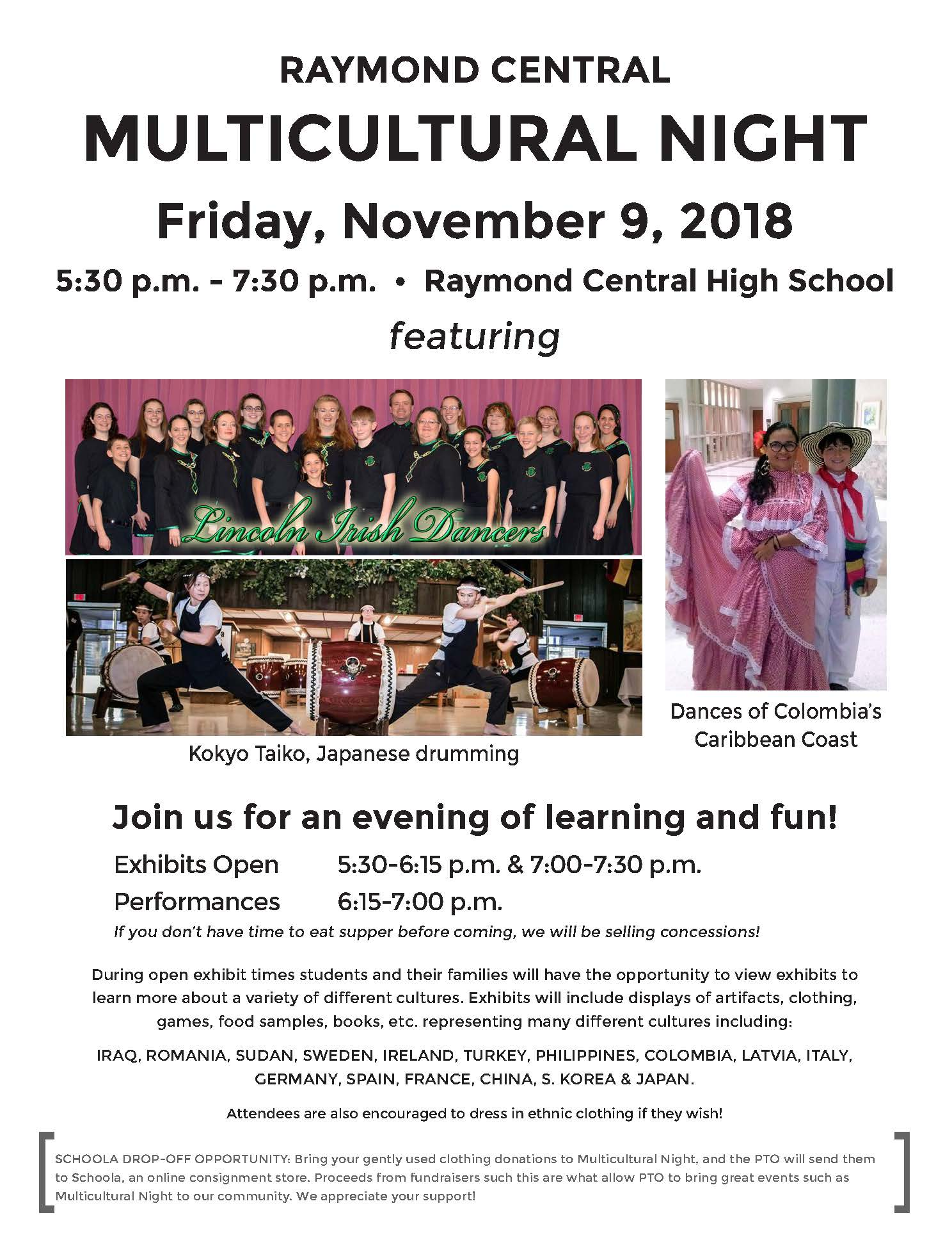 Raymond Central Multicultural Night flyer