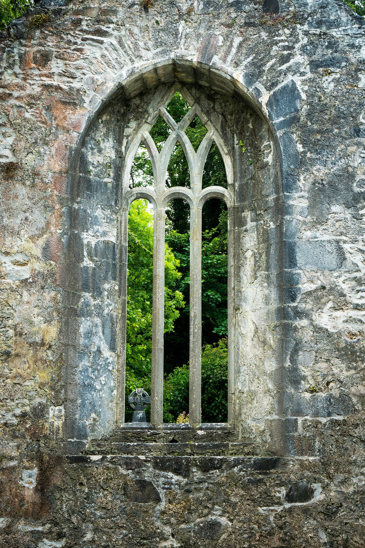 Arched window at Muckross in Ireland